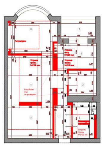 Пятый вариант перепланировки двухкомнатной квартиры